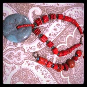 Coral and Turquoise bracelet and necklace. Italy